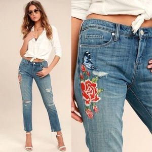 NWT Blank NYC Crop Girlfriend Embroidered Jeans 25